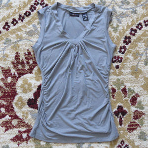 New York & Co Ruched Gray V Neck Top Size S EUC